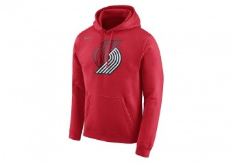 NIKE NBA PORTLAND TRAIL BLAZERS CLUB LOGO HOODIE UNIVERSITY RED