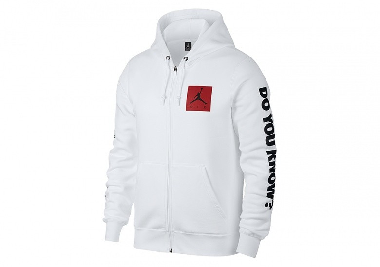NIKE AIR JORDAN FLIGHT FLEECE AJ 3 HOODIE WHITE