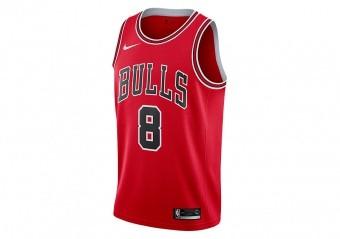 NIKE NBA ZACH LAVINE CHICAGO BULLS SWINGMAN JERSEY ROAD UNIVERSITY RED