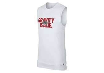 NIKE AIR JORDAN SPORTSWEAR DOUBLE-LAYER GRAVITY TEE WHITE