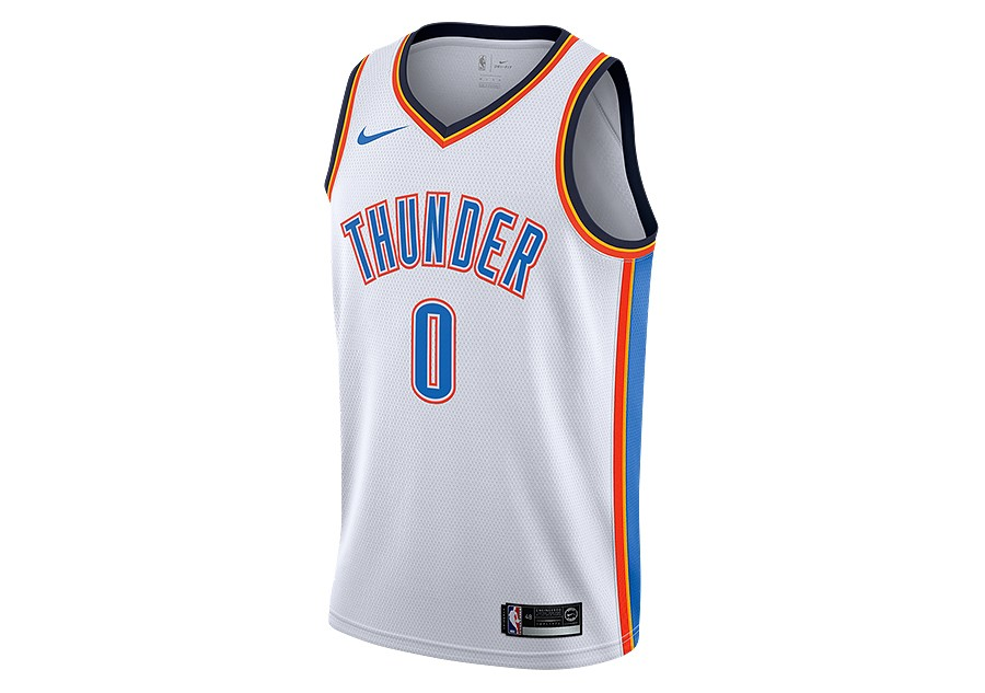 9e7b28a7b89 NIKE NBA OKLAHOMA CITY THUNDER RUSSELL WESTBROOK SWINGMAN HOME JERSEY WHITE