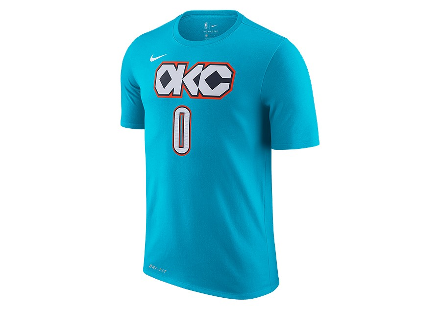 finest selection 585fa 67a24 NIKE NBA OKLAHOMA CITY THUNDER RUSSELL WESTBROOK DRY TEE DARK TURQUOISE