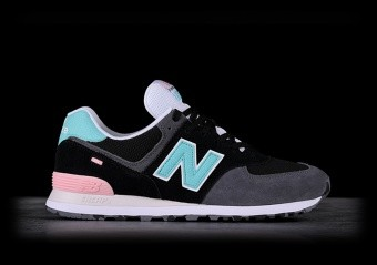 NEW BALANCE 574 BLACK WITH LIGHT TIDEPOOL