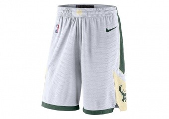 NIKE NBA MILWAUKEE BUCKS SWINGMAN HOME SHORTS WHITE