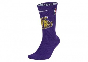 NIKE NBA LOS ANGELES LAKERS ELITE CREW SOCKS FIELD PURPLE