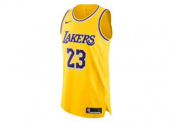 NIKE NBA LOS ANGELES LAKERS LEBRON JAMES AUTHENTIC JERSEY AMARILLO
