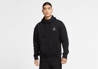 NIKE AIR JORDAN JUMPMAN AIR FLEECE FULL-ZIP HOODIE BLACK