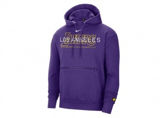 NIKE NBA LOS ANGELES LAKERS COURTSIDE PULLOVER HOODIE FIELD PURPLE