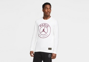 NIKE AIR JORDAN PSG PARIS SAINT-GERMAIN LONG-SLEEVE TEE WHITE
