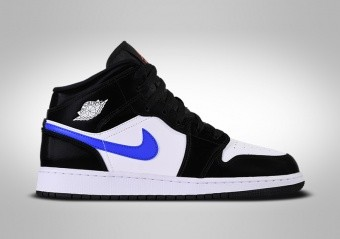 NIKE AIR JORDAN 1 RETRO MID GS BLACK RACER BLUE WHITE