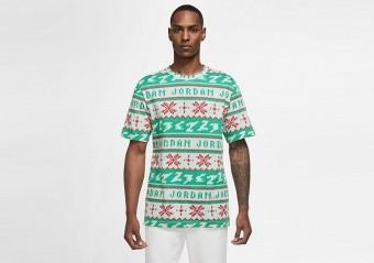 NIKE AIR JORDAN UGLY SWEATER CHRISTMAS CREW TEE LUCKY GREEN