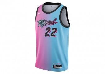 NIKE NBA MIAMI HEAT JIMMY BUTLER CITY EDITION SWINGMAN JERSEY LASER FUCHSIA